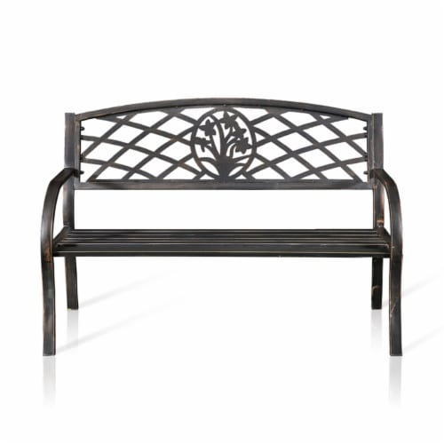 Palmer Slatted Patio Bench in Black - Furniture of America Perspective: bottom