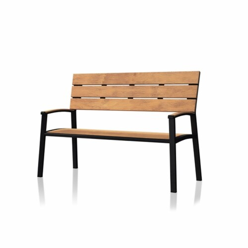 Furniture of America Adonde Transitional Wood and Metal Outdoor Bench in Oak Perspective: bottom