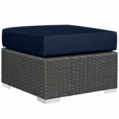 Sojourn 5 Piece Outdoor Patio Sunbrella Sectional Set - Canvas Navy Perspective: bottom