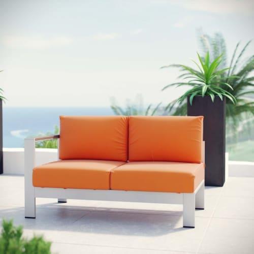 Shore Left-Arm Corner Sectional Outdoor Patio Aluminum Loveseat - Silver Orange Perspective: bottom