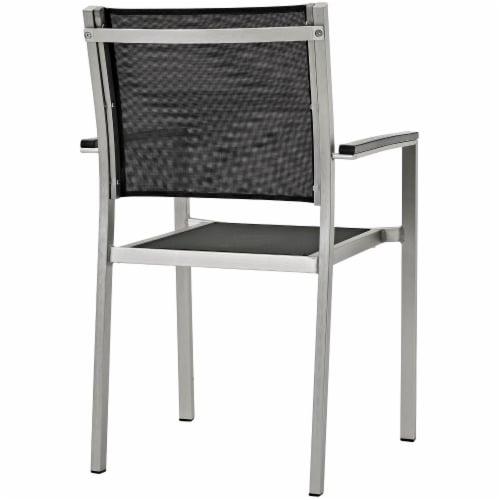 Shore 7 Piece Outdoor Patio Aluminum Dining Set - Silver Black Perspective: bottom