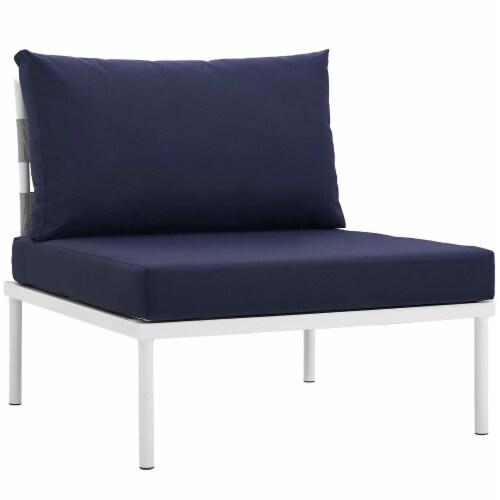 Harmony 6 Piece Outdoor Patio Aluminum Sectional Sofa Set - White Navy Perspective: bottom