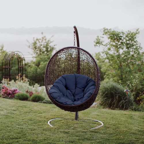 Encase Swing Outdoor Patio Lounge Chair - Navy Perspective: bottom