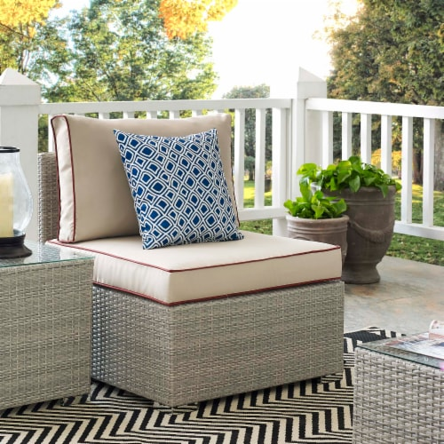 Repose Outdoor Patio Armless Chair - Light Gray Beige Perspective: bottom