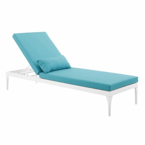 Perspective Cushion Outdoor Patio Chaise Lounge Chair - White Turquoise Perspective: bottom