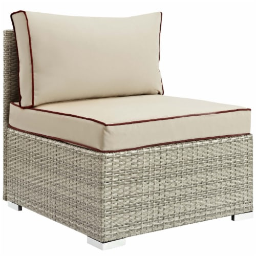 Repose 7 Piece Outdoor Patio Sectional Set - Light Gray Beige Perspective: bottom