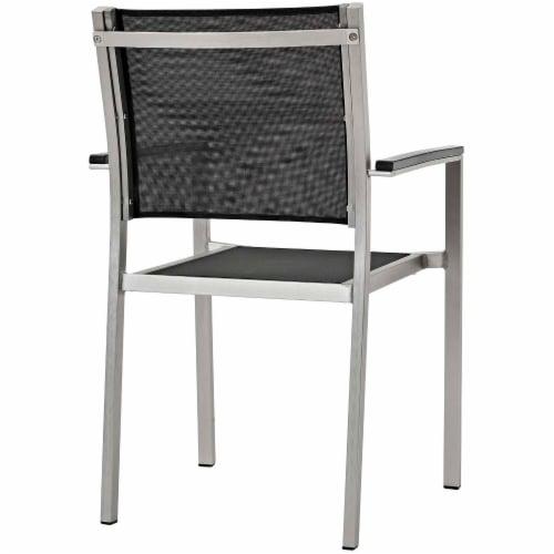 Shore 5 Piece Outdoor Patio Aluminum Outdoor Dining Set - Silver Black Perspective: bottom