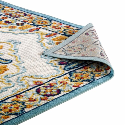 Ansel Floral Persian Medallion 8x10 Indoor and Outdoor Area Rug - Multicolored Perspective: bottom