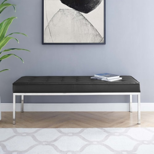 Loft Tufted Large Upholstered Faux Leather Bench Silver Black Perspective: bottom