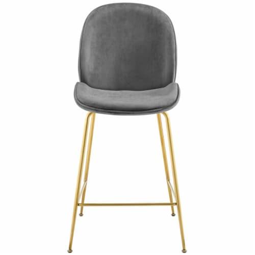 Scoop Gold Stainless Steel Leg Performance Velvet Counter Stool - Gray Perspective: bottom