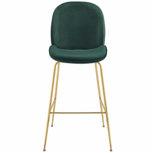 Scoop Gold Stainless Steel Leg Performance Velvet Bar Stool - Green Perspective: bottom