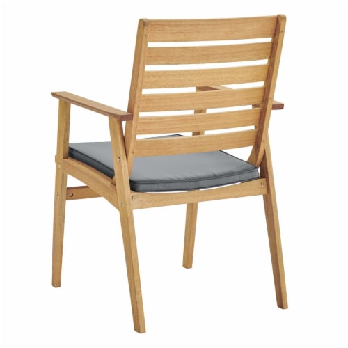Syracuse Outdoor Patio Eucalyptus Wood Dining Chair Set of 2 Natural Gray Perspective: bottom