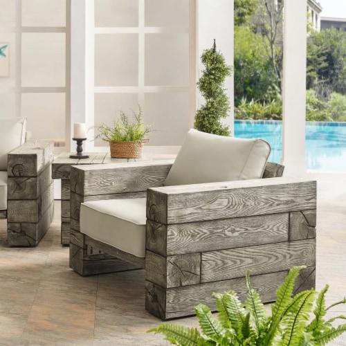 Manteo Rustic Coastal Outdoor Patio Sunbrella  Lounge Armchair Light Gray Beige Perspective: bottom