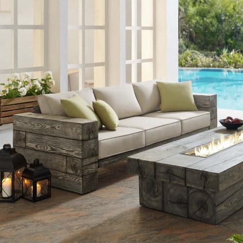 Manteo Rustic Coastal Outdoor Patio Sunbrella  Sofa Light Gray Beige Perspective: bottom