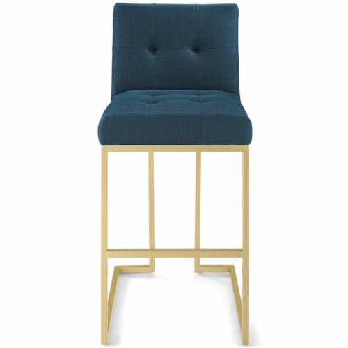 Privy Gold Stainless Steel Upholstered Fabric Bar Stool Gold Azure Perspective: bottom