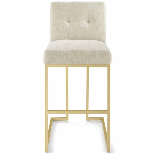 Privy Gold Stainless Steel Upholstered Fabric Bar Stool Gold Beige Perspective: bottom