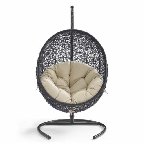 Encase Sunbrella Swing Outdoor Patio Lounge Chair Black Beige Perspective: bottom