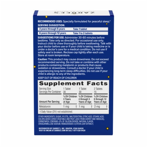 Zarbee's Naturals Children's Sleep Grape Chewable Tablets with Melatonin Dietary Supplement Perspective: bottom