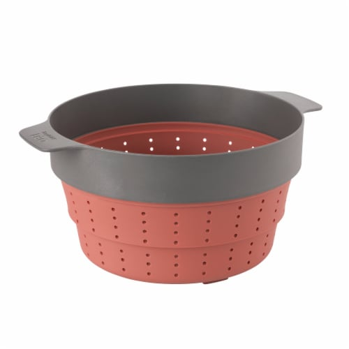 BergHOFF Leo Silicone 2 in 1 Steamer & Strainer - Pink/Gray Perspective: bottom