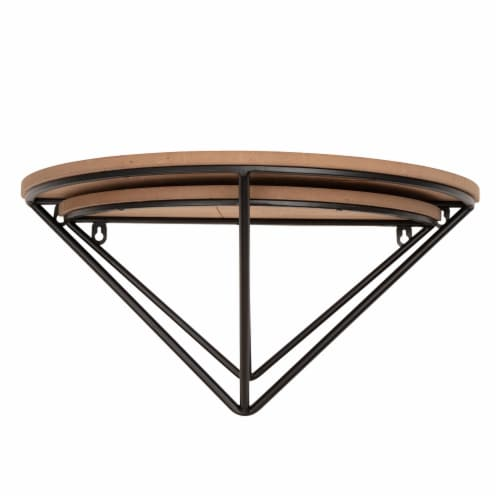 Glitzhome Farmhouse Metal/Wooden Decorative Wall Shelves Perspective: bottom