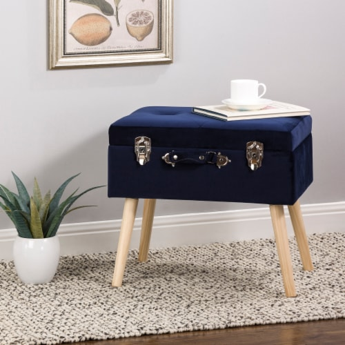 Glitzhome Velvet & Wooden Upholstered Storage Stool - Navy Blue Perspective: bottom