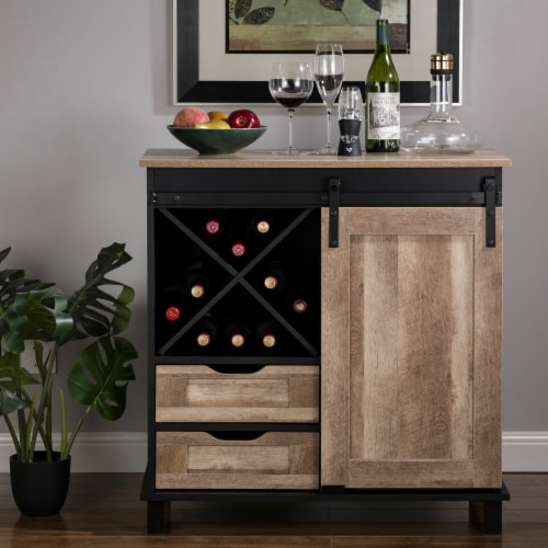 Glitzhome Modern Industrial Wine Cabinet with Sliding Door - Black / Natural Perspective: bottom