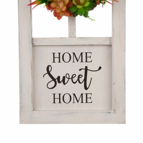 Glitzhome Wreath and Succulent Wooden Door Frame Wall Decoration Perspective: bottom
