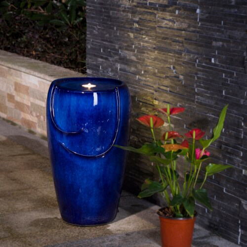 Glitzhome Ceramic Outdoor Fountain with Pump and LED Light - Cobalt Blue Perspective: bottom