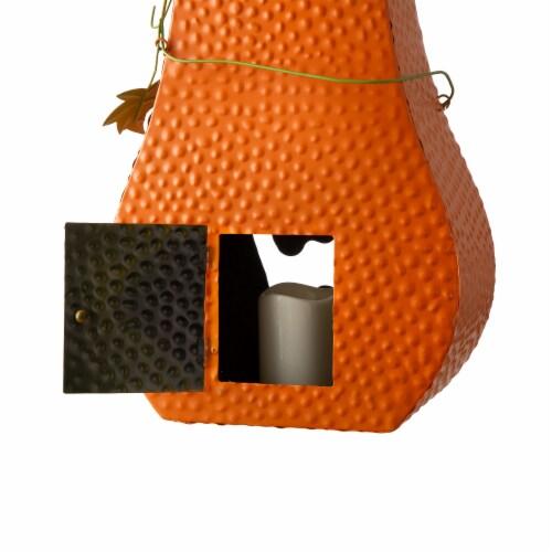 Glitzhome Halloween Metal Jack-O-Lantern with LED Pillar Pumpkin Decor Perspective: bottom