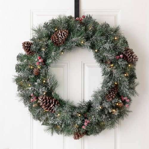 Glitzhome Glittered Pine Cone Christmas Wreath with Warm White LED Lights Perspective: bottom