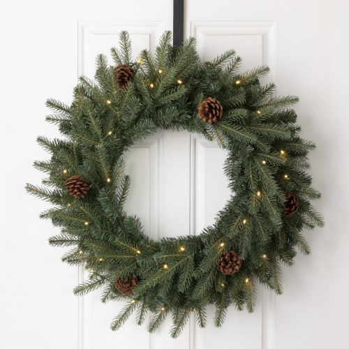 Glitzhome Pinecone Christmas Wreath with Warm White LED Lights Perspective: bottom