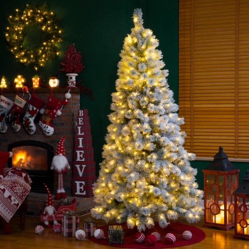 Glitzhome Snow Flocked Artificial Spruce Christmas Tree with Warm White Lights Perspective: bottom