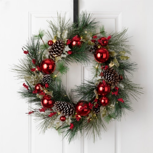 Glitzhome Pinecone & Ornament Wreath with LED Lights - Red Perspective: bottom