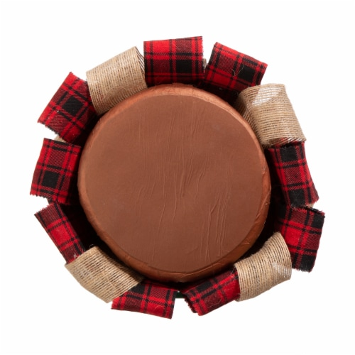 Glitzhome Plaid Fabric and Burlap Christmas Table Tree - Red Perspective: bottom