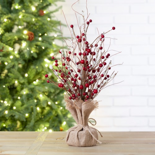 Glitzhome Rustic Christmas Berry Table Tree Decoration - Red Perspective: bottom
