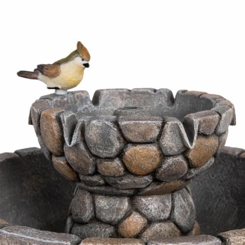 Glitzhome 2 Tier Stone-Like Birdbath Outdoor Fountain Perspective: bottom