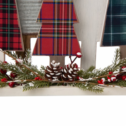 Glitzhome Plaid Wooden Christmas Tree with Pinecone Table Decoration Perspective: bottom