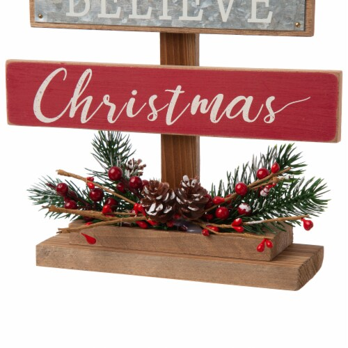 Glitzhome Wooden Christmas Tree Table Decoration Sign Perspective: bottom