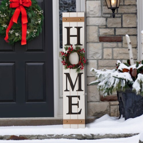 Glitzhome Wooden Home Floral Porch Sign Set with Changable Floral Wreaths Perspective: bottom