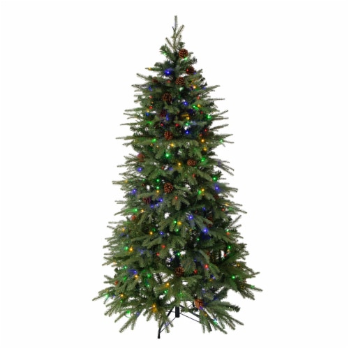 Glitzhome Artificial Fir Christmas Tree with LED Lights - Green Perspective: bottom