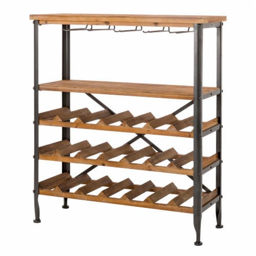 Glitzhome Vintage Wooden Wine Bottle and Glass Rack Perspective: bottom