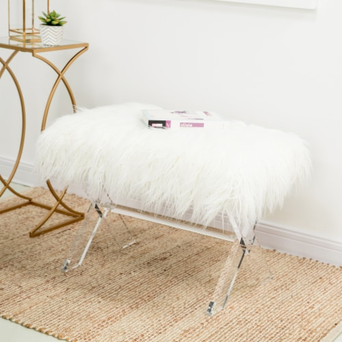 Glitzhome Faux Fur Upholstered Bench with Acrylic X-Leg - White / Clear Perspective: bottom