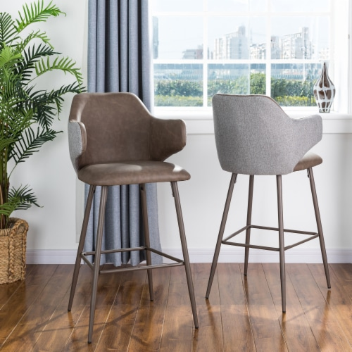 Glitzhome Leatherette & Fabric Bar Stools Pair - Dark Brown and Gray Perspective: bottom
