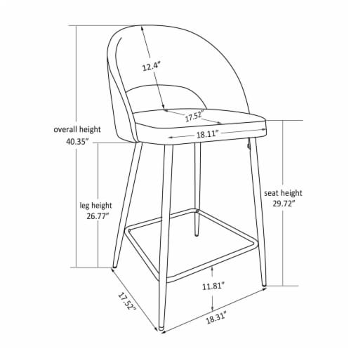 Glitzhome Fabric/Leatherette Bar Stools - Pale Gray Perspective: bottom
