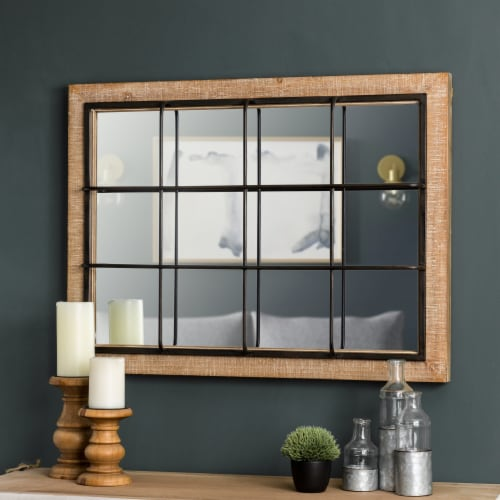 Glitzhome Farmhouse Wooden/Metal Windowpane Classic Wall Mirror Perspective: bottom