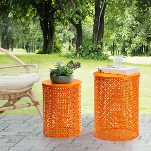 Glitzhome Metal Multi-Functional Garden Stool Plant Stands - Orange Perspective: bottom