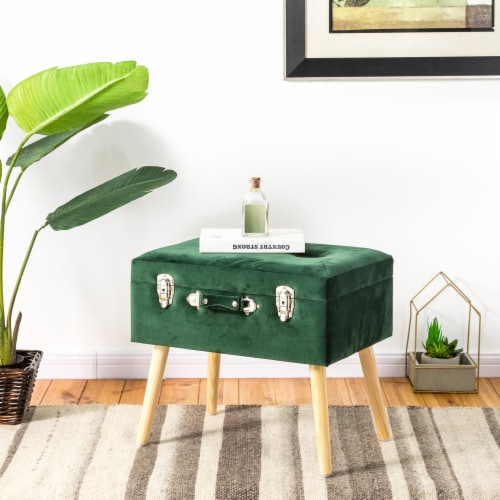 Glitzhome Velvet & Wooden Upholstered Storage Stool - Hunter Green Perspective: bottom