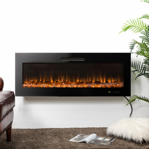 "50""L Recessed Wall Mounted Electric Fireplace, With 9 Color Flames Perspective: bottom"