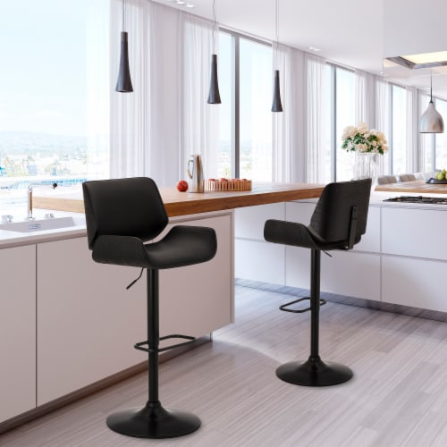 Glitzhome Mid-Century Modern Adjustable Height Swivel Bar Stool - Black Perspective: bottom