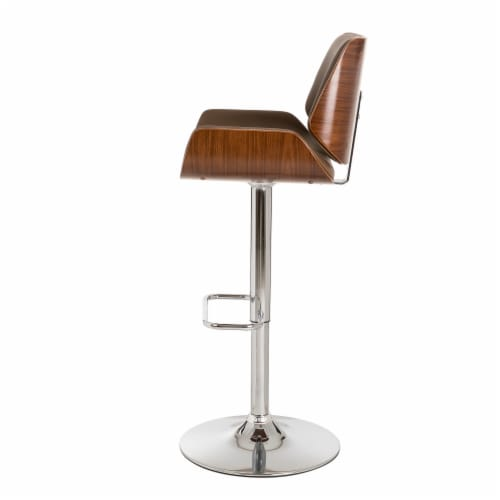 Glitzhome Adjustable Height Swivel Bar Stool - Brown Perspective: bottom